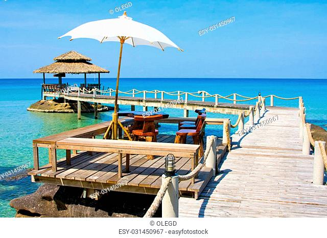 Wooden pier in tropical paradise , Koh Kood island , Thailand