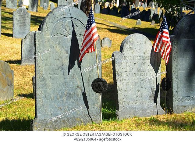 Old gravestones, Old Hill Burying Ground, Concord, Massachusetts