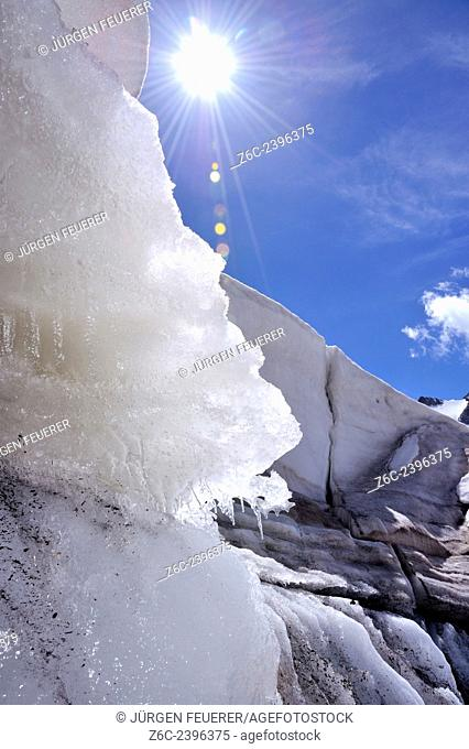Landscape of ice and snow, Hautes-Alpes, French Alps, France