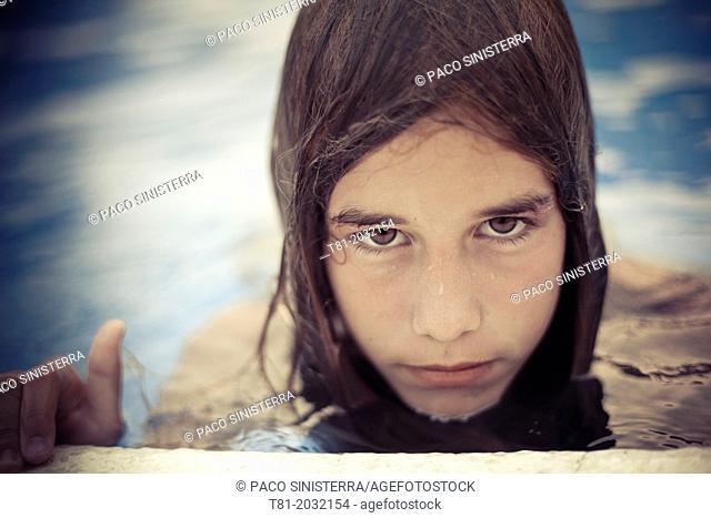 Girls in the pool, Alcossebre, Valencian Community, Spain