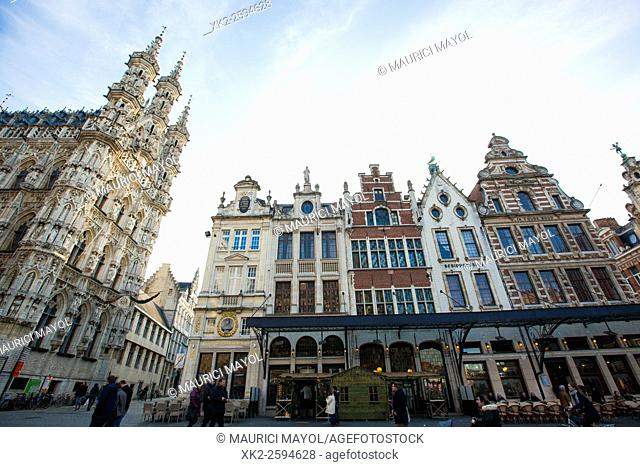 Grote markt and stadhuis (cityhall) of Leuven, Belgium