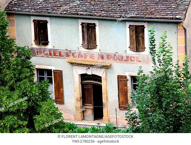 View on the old hotel restaurant Pujol in the village of Brousse le Chateau, Aveyron, Occitanie, Languedoc, Roussillon, France