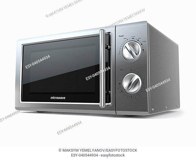 Metallic microwave oven isolated on white background. 3d