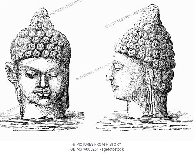 Laos: Two Buddha heads from a ruined monastery in Champasak, redrawn from an 1867 illustration by French expeditioner Louis Delaporte