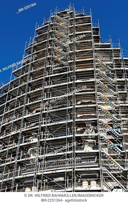 Scaffolding, scaffolded basilica of St Anna, Altoetting, Upper Bavaria, Bavaria, Germany, Europe