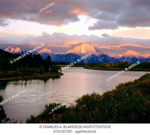 Mount Moran and Teton Range on the Snake River from Oxbow Bend at sunrise. Grand Teton National Park. Wyoming. USA