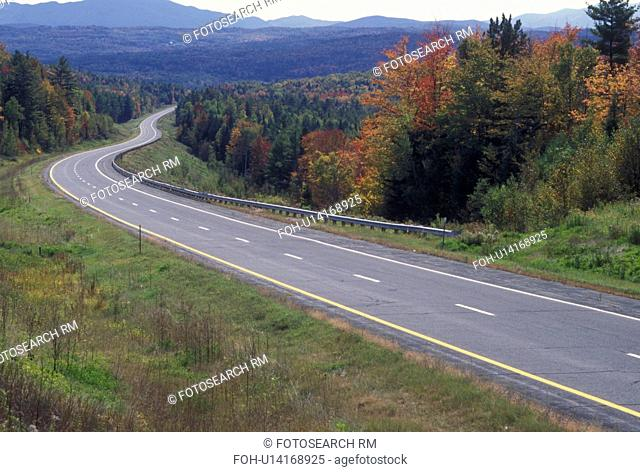 road, autumn, Vermont, Scenic highway I-93 winds through the beautiful colorful forests and mountains of Vermont during the fall
