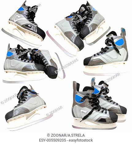 Collection Man's hockey skates. Isolated on white background