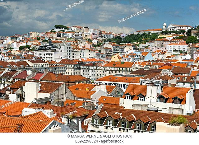 View on the old town of Lisbon with Praca Dom Pedro IV aka Rossio to the northeast , Portugal, Europe