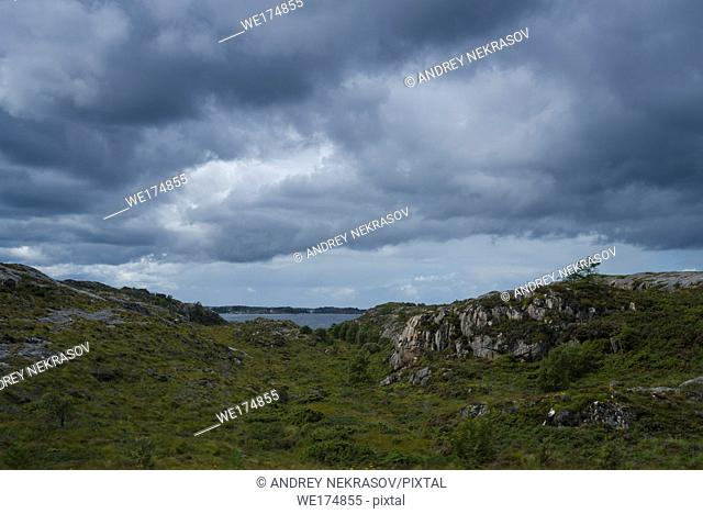 Norwegian landscapes on a cloudy, rainy day. Northern Atlantic, Norway