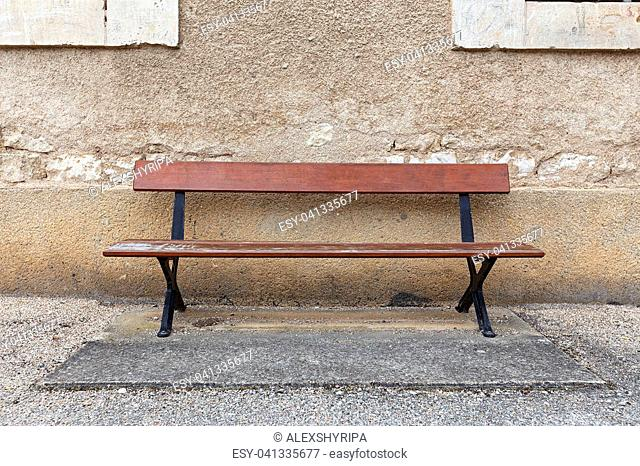 Miraculous Wooden Bench Near Wooden Wall Stock Photos And Images Age Onthecornerstone Fun Painted Chair Ideas Images Onthecornerstoneorg