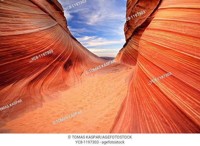 Sandstone formation called Wave in Coyote Buttes north area illuminated by reflected morning light deep in one southwestern canyon