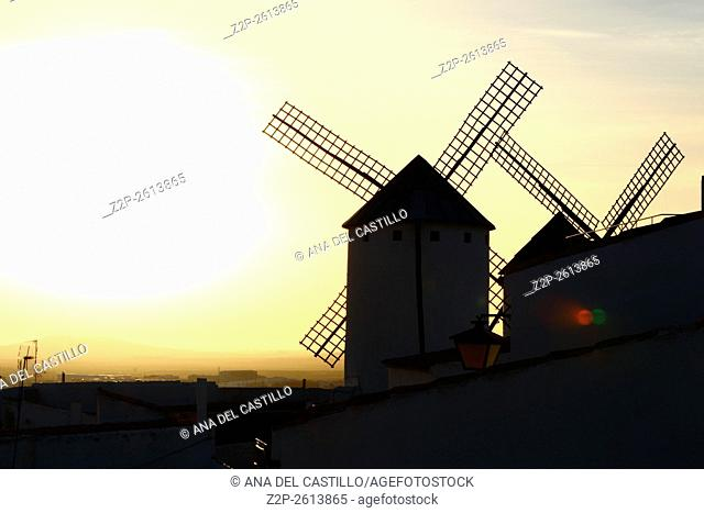 Wind mills at Campo de Criptana in evening time. La Mancha, Spain