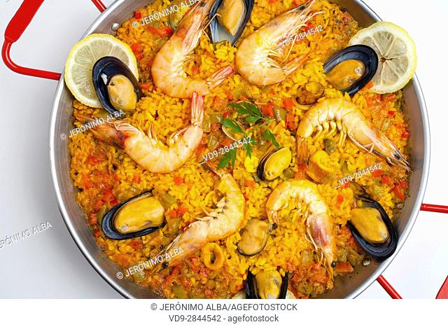 Sea food Paella. Andalusia, Spain. Europe