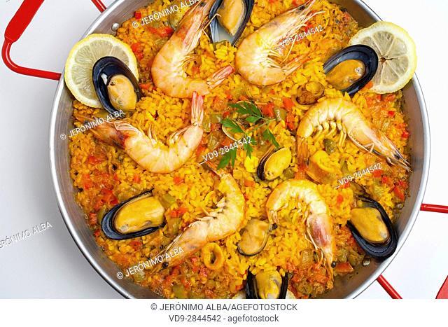 Sea food Paella. Andalusia, Spain. Europe