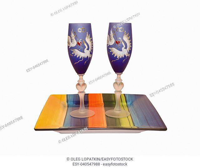 bridal glasses on a stand