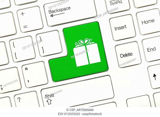White conceptual keyboard - Gift icon (green key)