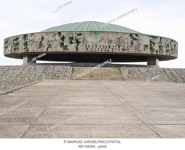 Majdanek Mausoleum erected in 1969 at Nazi German concentration and extermination camp contains ashes and remains of cremated victims