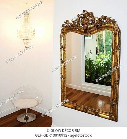 Reflection of plants in a mirror