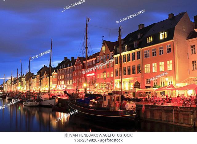 Nyhavn Canal at Dusk, Copenhagen, Denmark