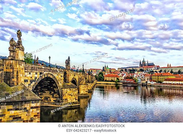 Charles Bridge in details and Lesser Town of Prague sights on the oppostite bank of the Vltava