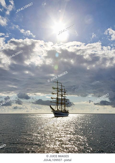 Baltic Sea, full rigged ship, Ruegen, Mecklenburg-Western Pommerania, Germany