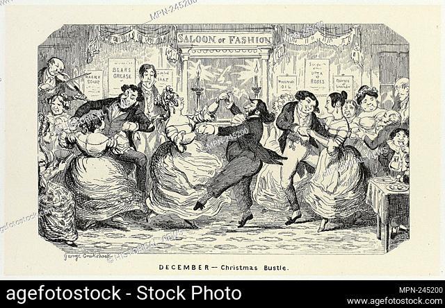December - Christmas Bustle from George Cruikshank's Steel Etchings to The Comic Almanacks: 1835-1853 - 1840, printed c. 1880 - George Cruikshank (English