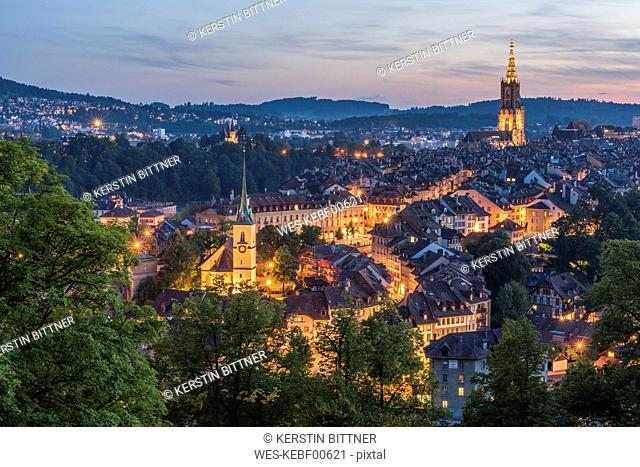Switzerland, Bern, cityscape with lighted Nydeggkirche and minster at evening twilight