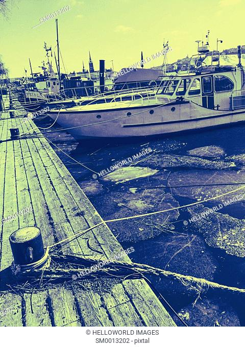 Line of boats moored in winter, Stockholm, Sweden, Scandinavia