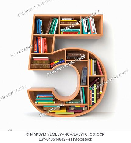 Number 5 five. Alphabet in the form of shelves with books isolated on white. 3d illustration
