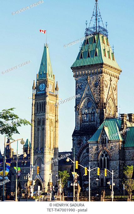 Canada, Ontario, Ottawa, Parliament building against clear sky
