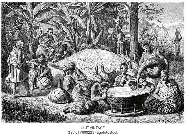 Beer Festival of Waganda Tribe, Africa, Illustration, 1885