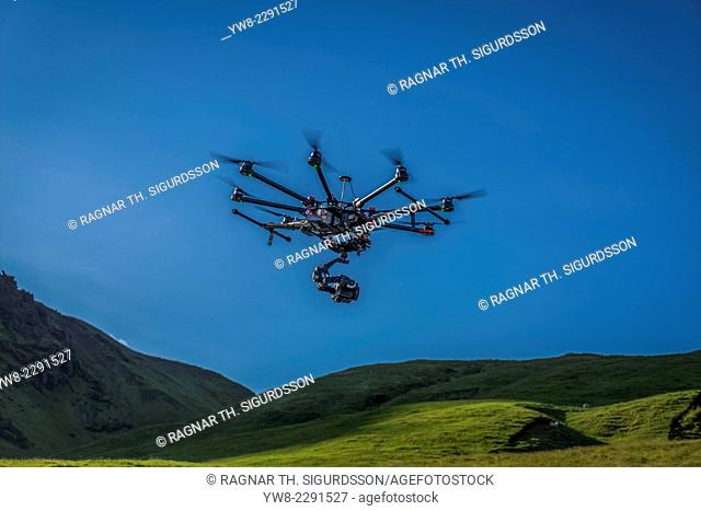 DJI S1000, Radio Controlled Drone flying with a camera by Skogafoss Waterfalls, Iceland