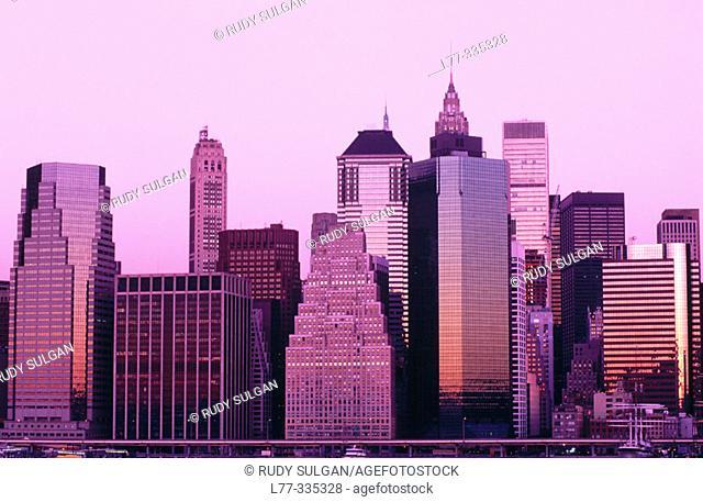 Lower Manhattan skyline. New York City, USA