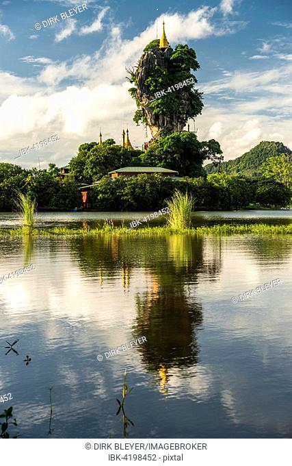 Kyauk Kalap Pagoda on a rock, reflection, monastery, Hpa-an, Kayin or Karen State, Myanmar