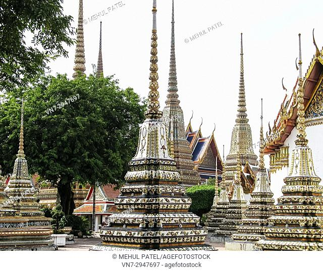 Structures inside the grounds of the Temple of the Emerald Buddha (Wat Phra Kaew), Bangkok, Thailand, Asia