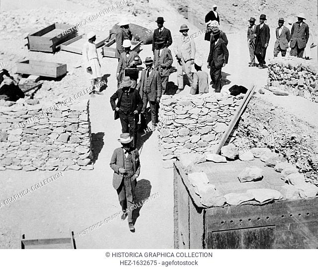 Lord Carnavon (1866-1923) leading the party invited to the unofficial opening of the tomb. A keen egyptologist, Carnarvon was archaeologist Howard Carter's...