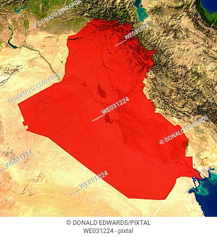Highlighted satellite image of Iraq