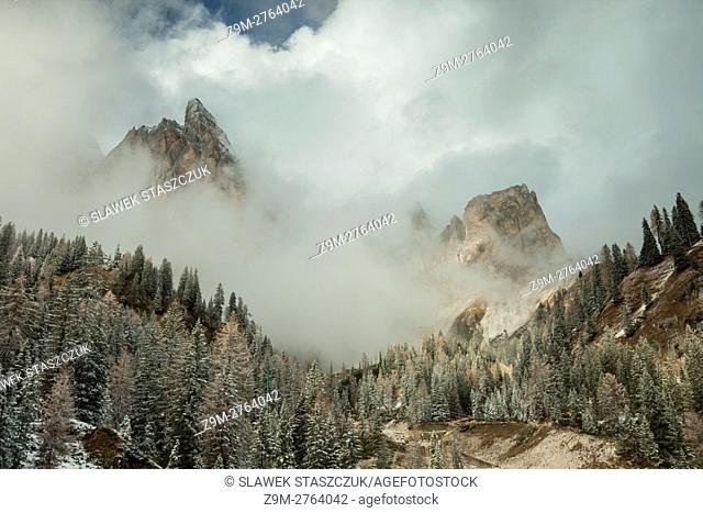 Snow in the Dolomites near Cortina d'Ampezzo, Belluno province, Veneto region, Italy