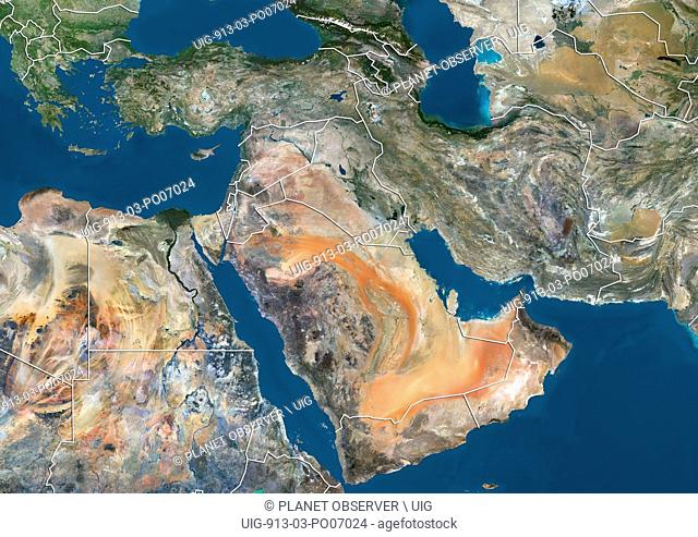 Satellite view of the Middle East (with country boundaries). This image was compiled from data acquired in 2014 by Landsat 8 satellite