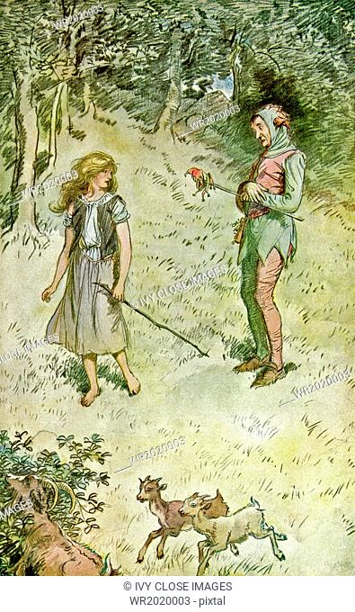 This illustration by Hugh Thomson, dating to 1909, depicts a scene from Shakespeare's comedy As You Like It, Act 3, Scene 3
