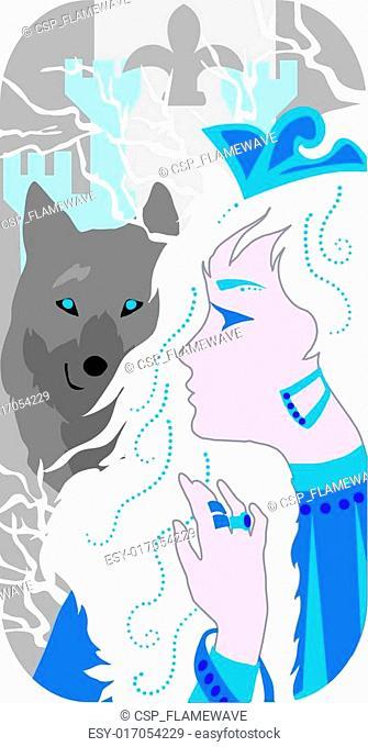 Princess and wolf illustration