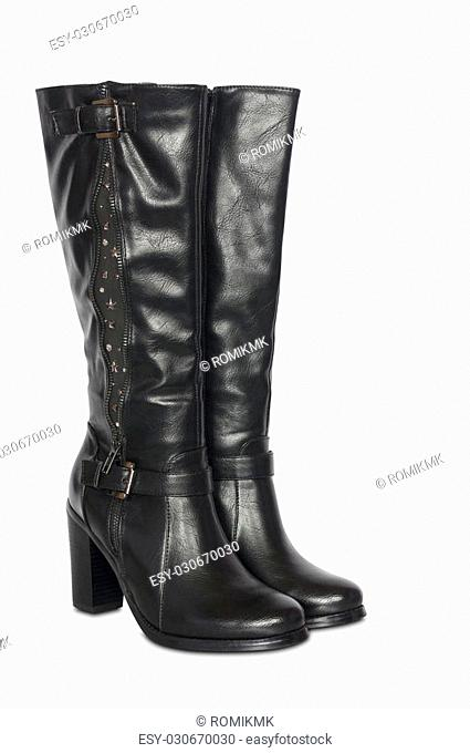 female high heel boots isolated on white