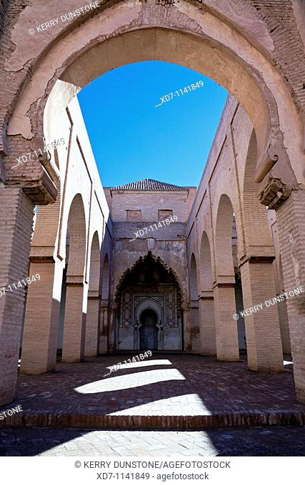 Morocco High Atlas Mountains Tin Mal Mosque Arches and pillars inside compound