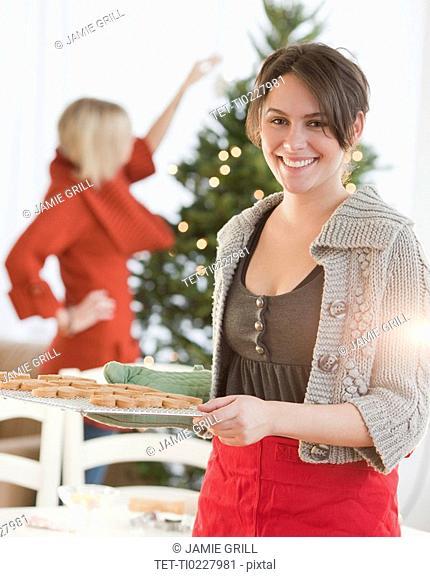 Woman baking Christmas cookies