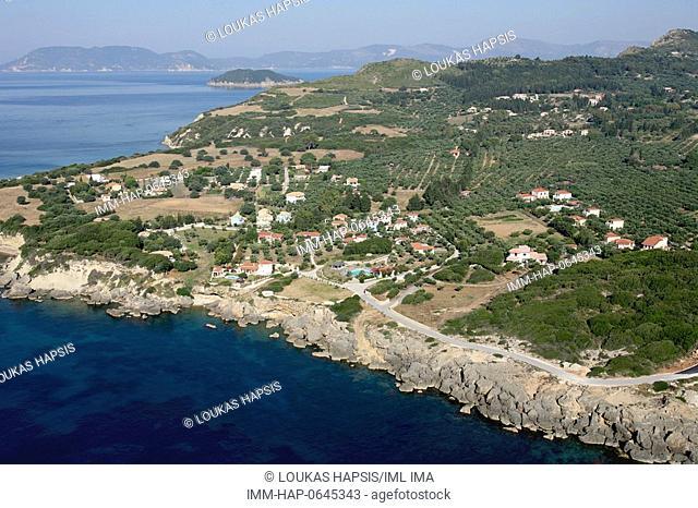 South-East aerial view of Zakynthos island. Zakynthos, Ionian Islands, Greece, Europe