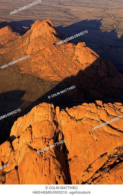 Namibia, Erongo Region, Damaraland, the Spitzkoppe or Spitzkop (1784 m), granite mountain in the Namib Desert (aerial view)