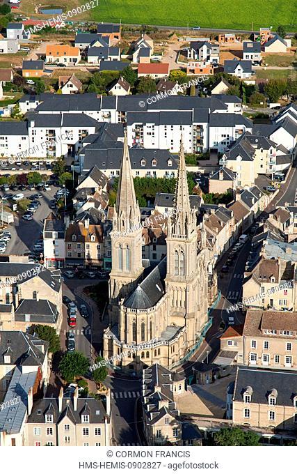 France, Calvados, Douvres la Delivrande, basilica of Notre Dame de la Delivrande (aerial view)