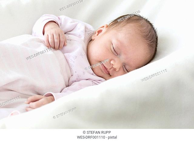 Portrait of sleeping baby girl