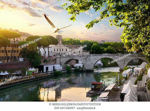 Early morning over bridge Cestio in Rome, Italy